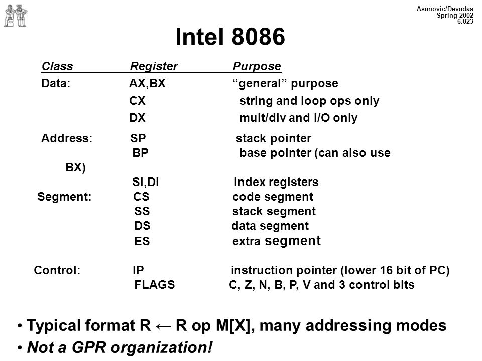 Intel 8086 Typical format R ← R op M[X], many addressing modes